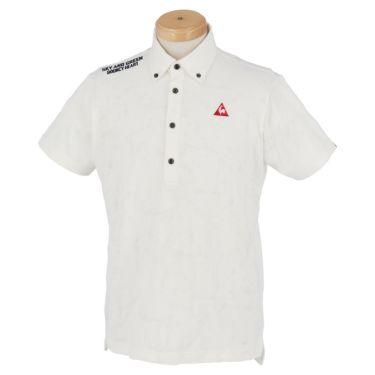 ルコック Le coq sportif メンズ ロゴ刺繍 総柄 ジャカード 半袖 ボタンダウン ポロシャツ QGMPJA17 2020年モデル ホワイト(WH00)