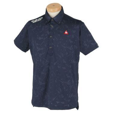 ルコック Le coq sportif メンズ ロゴ刺繍 総柄 ジャカード 半袖 ボタンダウン ポロシャツ QGMPJA17 2020年モデル ネイビー(NV00)