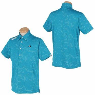 ルコック Le coq sportif メンズ ロゴ刺繍 総柄 ジャカード 半袖 ボタンダウン ポロシャツ QGMPJA17 2020年モデル 詳細3
