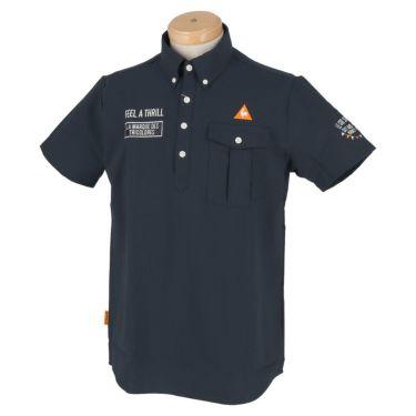ルコック Le coq sportif メンズ ロゴ刺繍 サッカーストライプ 半袖 ボタンダウン ポロシャツ QGMPJA70 2020年モデル ネイビー(NV00)