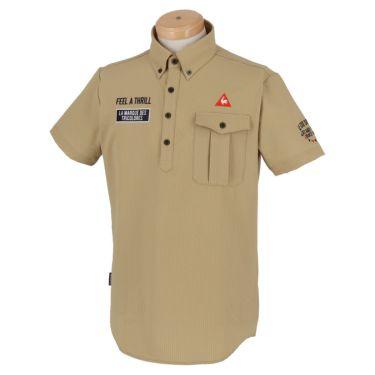 ルコック Le coq sportif メンズ ロゴ刺繍 サッカーストライプ 半袖 ボタンダウン ポロシャツ QGMPJA70 2020年モデル ベージュ(BG00)