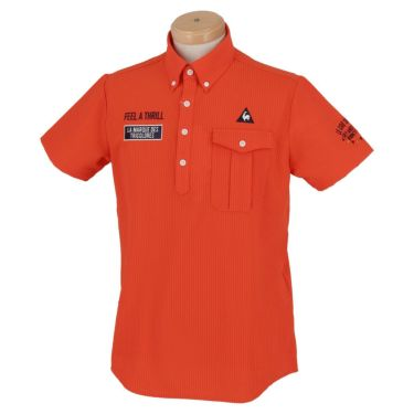 ルコック Le coq sportif メンズ ロゴ刺繍 サッカーストライプ 半袖 ボタンダウン ポロシャツ QGMPJA70 2020年モデル オレンジ(OR00)