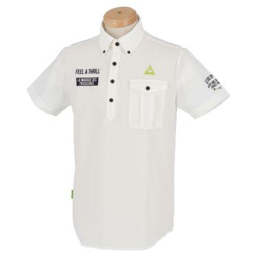 ルコック Le coq sportif メンズ ロゴ刺繍 サッカーストライプ 半袖 ボタンダウン ポロシャツ QGMPJA70 2020年モデル ホワイト(WH00)