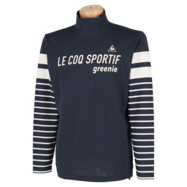 ルコック Le coq sportif メンズ ロゴプリント ボーダー柄 長袖 ハイネックシャツ QGMPJB01 2020年モデル ネイビー(NV00)