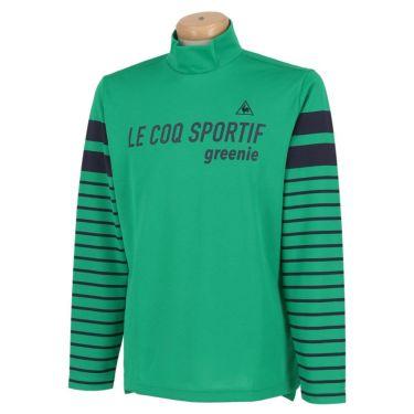 ルコック Le coq sportif メンズ ロゴプリント ボーダー柄 長袖 ハイネックシャツ QGMPJB01 2020年モデル グリーン(GR00)