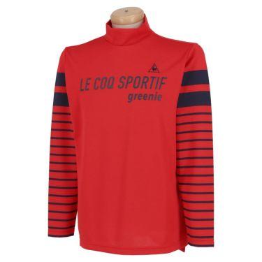 ルコック Le coq sportif メンズ ロゴプリント ボーダー柄 長袖 ハイネックシャツ QGMPJB01 2020年モデル レッド(RD00)