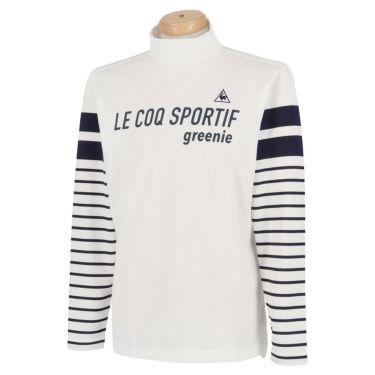 ルコック Le coq sportif メンズ ロゴプリント ボーダー柄 長袖 ハイネックシャツ QGMPJB01 2020年モデル ホワイト(WH00)