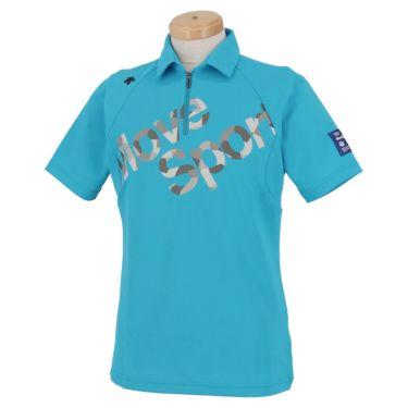 デサントゴルフ DESCENTE GOLF メンズ プリントデザイン ロゴ刺繍 半袖 ハーフジップシャツ DGMPJA42 2020年モデル サックス(SA00)