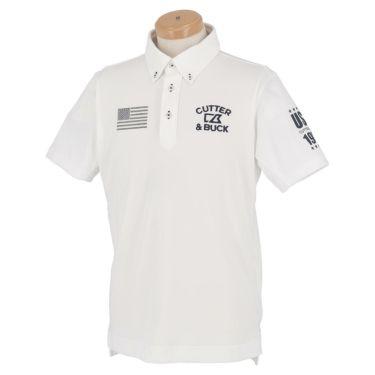 【ss特価】△カッター&バック メンズ ロゴ刺繍 フラッグ 半袖 ボタンダウン ポロシャツ CGMPJA21 [2020年モデル] ゴルフウェア [春夏モデル 50%OFF] 特価 ホワイト(WH00)