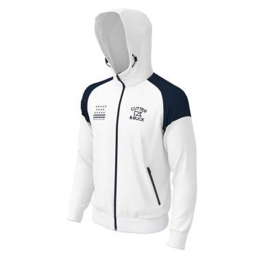 カッター&バック CUTTER&BUCK メンズ ロゴ刺繍 配色切替 長袖 フルジップ パーカー CGMPJL60 2020年モデル ホワイト(WH00)