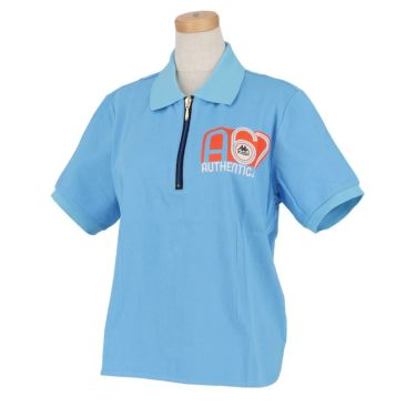 【ss特価】△カッパ レディース ロゴプリント 半袖 ハーフジップ ポロシャツ KC922SS74 ゴルフウェア [春夏モデル 50%OFF] 特価 ブルー(BL)