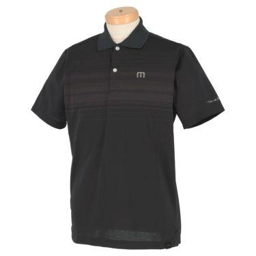 トラヴィスマシュー Travis Mathew メンズ ロゴ刺繍 ランダムボーダー柄 半袖 ポロシャツ 7AD013 2021年モデル ブラック(0BLK)
