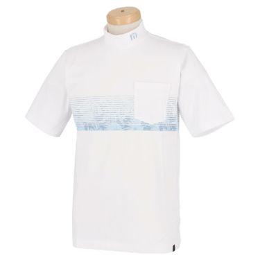 トラヴィスマシュー Travis Mathew メンズ ボタニカル柄 ボーダー 半袖 モックネックシャツ 7AD019 2021年モデル ホワイト(1WHT)