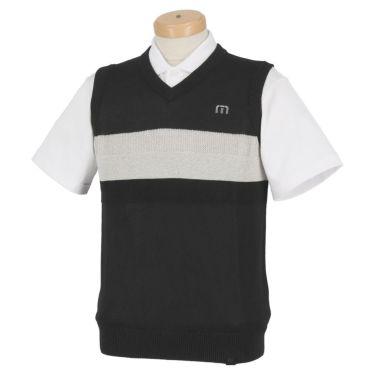 トラヴィスマシュー Travis Mathew メンズ ロゴ刺繍 カラー切替 Vネック ニットベスト 7AD023 2021年モデル ブラック(0BLK)