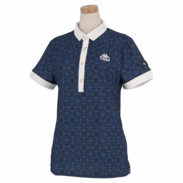カッパ Kappa レディース 総柄 半袖 ポロシャツ KGA22SS61 2020年モデル ネイビー(NV)