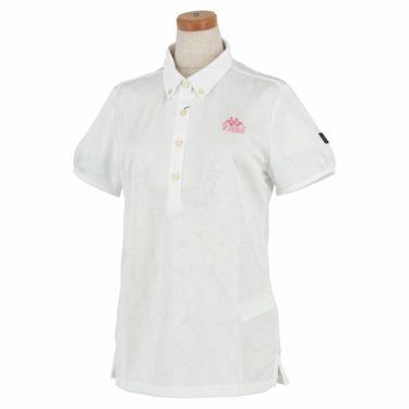 カッパ Kappa レディース ジャカード ボタニカル柄 半袖 ボタンダウン ポロシャツ KGA22SS70 2020年モデル ホワイト(WT)