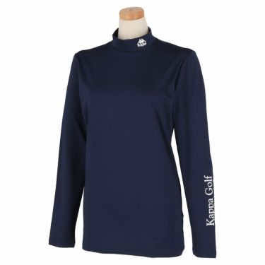 カッパ Kappa レディース ロゴプリント 長袖 ハイネック インナーシャツ KGA22UT61 2020年モデル ネイビー(NV)