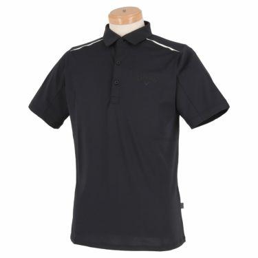キャロウェイ Callaway メンズ ロゴプリント 背面ライン 天竺 半袖 ポロシャツ 241-1134503 2021年モデル ブラック(010)