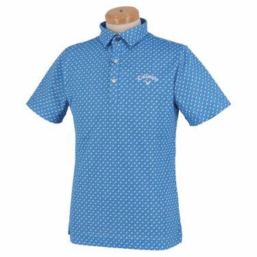 キャロウェイ Callaway メンズ ロゴ刺繍 鹿の子 総柄 リーフプリント 半袖 ポロシャツ 241-1134508 2021年モデル ブルー(110)