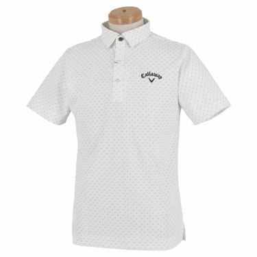 キャロウェイ Callaway メンズ ロゴ刺繍 鹿の子 総柄 リーフプリント 半袖 ポロシャツ 241-1134508 2021年モデル ホワイト(030)
