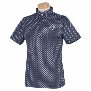 キャロウェイ Callaway メンズ ロゴ刺繍 鹿の子 総柄 リーフプリント 半袖 ポロシャツ 241-1134508 2021年モデル ネイビー(120)