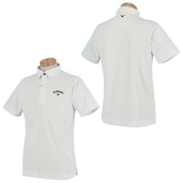 キャロウェイ Callaway メンズ ロゴ刺繍 鹿の子 総柄 リーフプリント 半袖 ポロシャツ 241-1134508 2021年モデル 詳細3