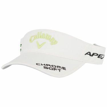 キャロウェイ メンズ 立体ロゴ刺繍 ツアー サンバイザー 241-1991511 035 ホワイト/ライトグリーン 2021年モデル ホワイト/ライトグリーン(035)