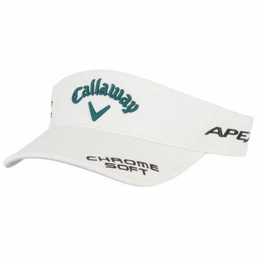 キャロウェイ メンズ 立体ロゴ刺繍 ツアー サンバイザー 241-1991511 036 ホワイト/グリーン 2021年モデル ホワイト/グリーン(036)