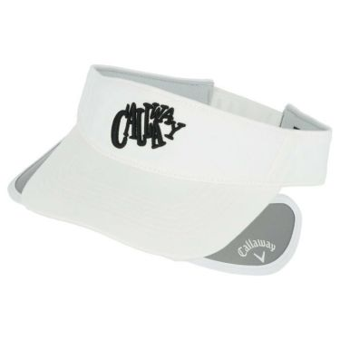 キャロウェイ レディース 立体ロゴ刺繍 セル可動式 サンバイザー 241-1191812 030 ホワイト 2021年モデル 詳細2