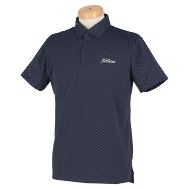 タイトリスト Titleist メンズ ヘリンボーン柄 半袖 ボタンダウン ポロシャツ TSMC2021 2020年モデル ネイビー(NV)
