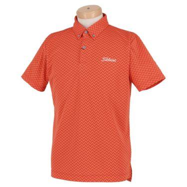 タイトリスト Titleist メンズ ヘリンボーン柄 半袖 ボタンダウン ポロシャツ TSMC2021 2020年モデル オレンジ(OR)