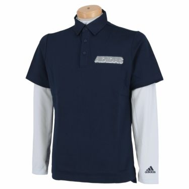 アディダス adidas メンズ ロゴプリント 半袖 ポロシャツ & 長袖 インナーシャツ 23086 2021年モデル カレッジネイビー(GM0772)