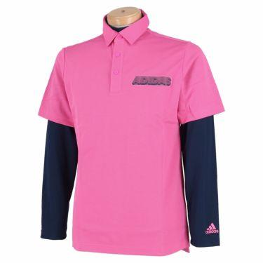 アディダス adidas メンズ ロゴプリント 半袖 ポロシャツ & 長袖 インナーシャツ 23086 2021年モデル スクリーミングピンク(GM0773)