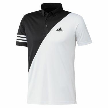 アディダス adidas メンズ ロゴプリント カラーブロック 半袖 ボタンダウン ポロシャツ 23282 2021年モデル ブラック/ホワイト(GM3659)