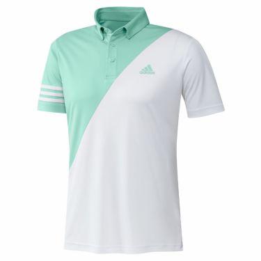 アディダス adidas メンズ ロゴプリント カラーブロック 半袖 ボタンダウン ポロシャツ 23282 2021年モデル クリアミント/ホワイト(GM3660)