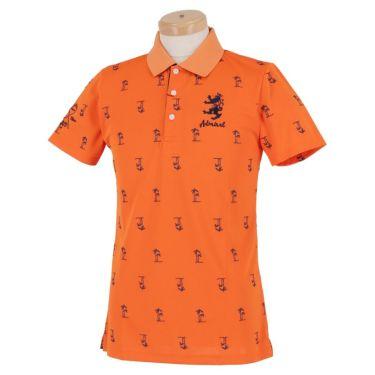 アドミラル Admiral メンズ ヤシの木プリント 飛び柄 ランパント刺繍 半袖 ポロシャツ ADMA954 オレンジ(46)