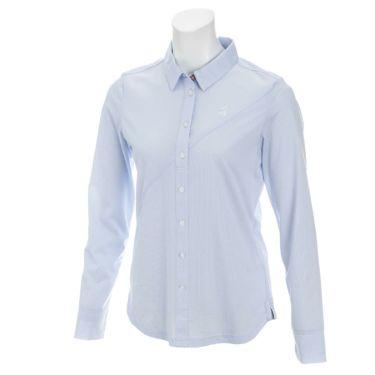 アドミラル Admiral レディース ランパント刺繍 ストライプ柄 長袖 ポロシャツ ADLA925 ブルー(34)