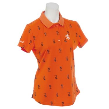 アドミラル Admiral レディース ヤシの木プリント 飛び柄 ランパント刺繍 半袖 ポロシャツ ADLA952 オレンジ(46)