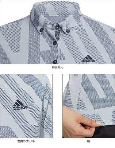 アディダス adidas レディース 総柄プリント 半袖 ボタンダウン ポロシャツ 23280 2021年モデル 詳細4