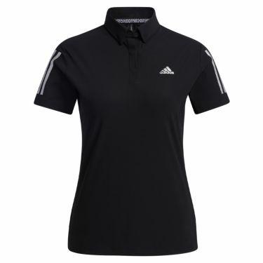 アディダス adidas レディース スリーストライプス 半袖 ボタンダウン ポロシャツ 23300 2021年モデル ブラック(GM3743)
