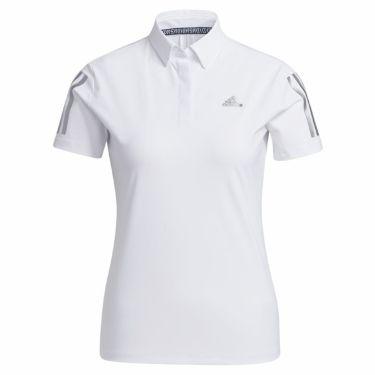 アディダス adidas レディース スリーストライプス 半袖 ボタンダウン ポロシャツ 23300 2021年モデル ホワイト(GM3738)