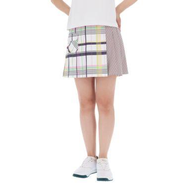 トミー ヒルフィガー ゴルフ レディース チェック ストライプ 柄切替 スカート THLA933 ホワイト(00)