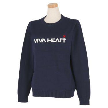 ビバハート VIVA HEART レディース ロゴ刺繍 長袖 クルーネック セーター 012-12211 2020年モデル ネイビー(98)