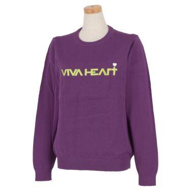 ビバハート VIVA HEART レディース ロゴ刺繍 長袖 クルーネック セーター 012-12211 2020年モデル パープル(83)