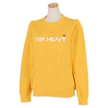 ビバハート VIVA HEART レディース ロゴ刺繍 長袖 クルーネック セーター 012-12211 2020年モデル イエロー(34)