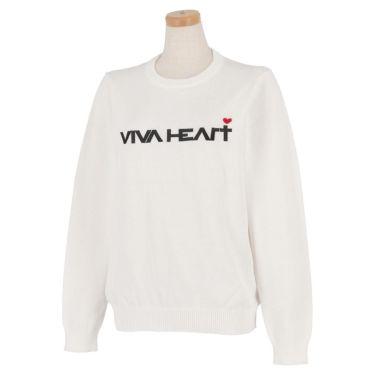 ビバハート VIVA HEART レディース ロゴ刺繍 長袖 クルーネック セーター 012-12211 2020年モデル ホワイト(05)