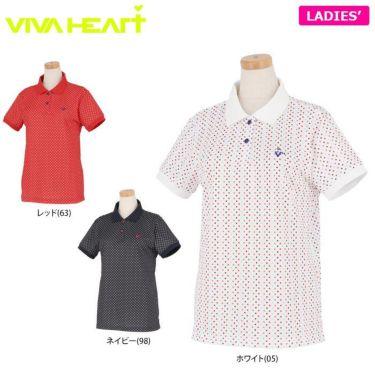 ビバハート VIVA HEART レディース ドット柄 半袖 ポロシャツ 012-22440 2020年モデル 詳細1