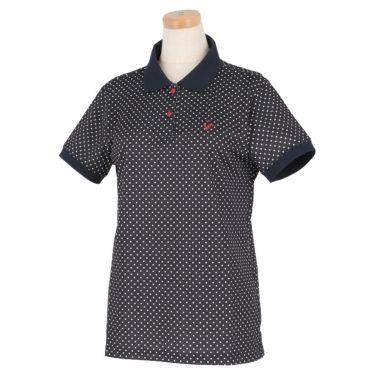 ビバハート VIVA HEART レディース ドット柄 半袖 ポロシャツ 012-22440 2020年モデル ネイビー(98)