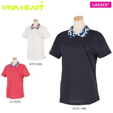 ビバハート VIVA HEART レディース 衿モザイク柄 半袖 バックボタン ポロシャツ 012-22441 2020年モデル 詳細1