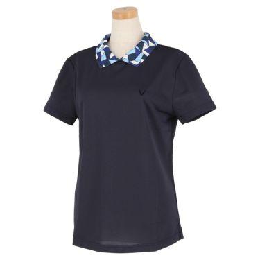 ビバハート VIVA HEART レディース 衿モザイク柄 半袖 バックボタン ポロシャツ 012-22441 2020年モデル ネイビー(98)